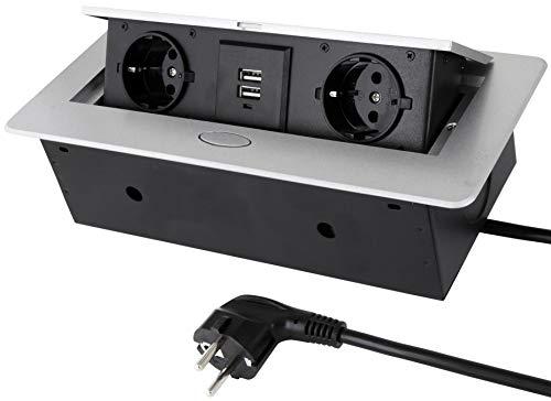 Versenkbare Einbausteckdose 2er + USB - Aluminium-Druckguss - Softöffnung - Anschlusskabel 3m mit Schutzkontaktstecker - silber