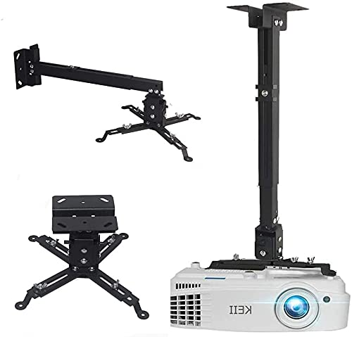 Projector Ceiling Wall Mount,Universal Projector Mountwith Extendable Length Projector Bracket for LCD/DLP Projectors(Black)