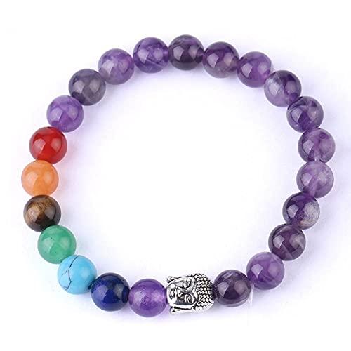 Beads Bracelet,7 Chakra Natural Gemstone Amethyst Beads Silver Buddha Anxiety Bracelet Prayer Beads Balance Elastic Yoga Bangle Gift For Men Women
