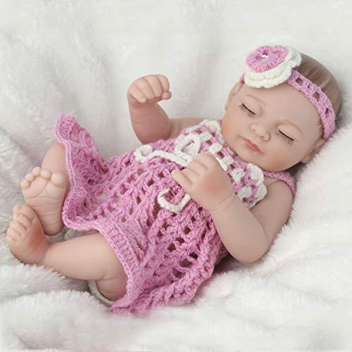 NPKDOLL 28cm Reborn Bebé Doll Muñecos-niña,Silicona Suave para Todo El Cuerpo/Ojos Cerrados/Pelo Dibujado A Mano/Se Puede Bañar En El Agua/Equipado con Ropa Regalo De Juguete