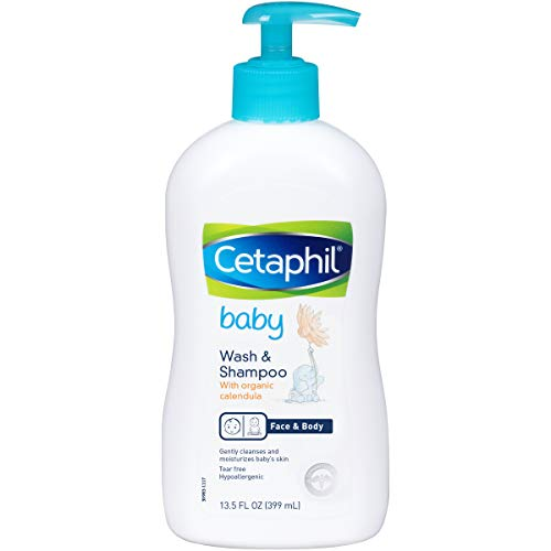 Cetaphil Baby Wash & Shampoo with Organic Calendula |Tear Free | Paraben, Colorant and Mineral Oil Free  | 13.5 Fl. Oz