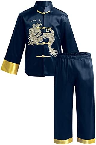 ACSUSS Kids Boys Satin Embroidery Dragon Traditional Chinese Kung Fu Outfit Tang Suit Chinese product image
