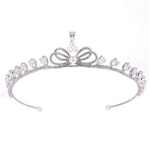 Corona da Copricapo Nuziale Corona d'Argento da Principessa d'Epoca con diadema di Perle d'Acqua Dolce per Gli Adulti della Sposa Royal Pageant Party HEA (Color : Silver, Size : 15 * 3.8cm)