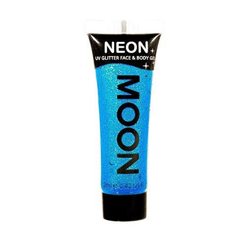 Moon Glow - Gel facial y corporal con purpurina neón UV - 12 ml Azul - Pintura facial con purpurina