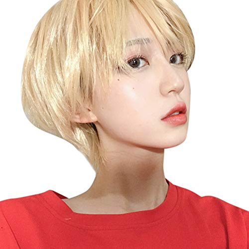 Mallalah Pleine Perruque Courte Harajuku Hommes Beau Visage Naturel Loose Blonde et Argenté de Haute Qualité Populaire Mode Moelleux Imechen Unisexe