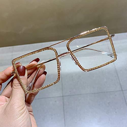 Secuos Moda Gafas De Sol Cuadradas Transparentes A La Moda con Montura De Metal, Gafas De Gran Tamaño para Mujer, Montura De Anteojos para Hombre, Gafas Lisas Nerd, Tonos Claros, Oro Rosa