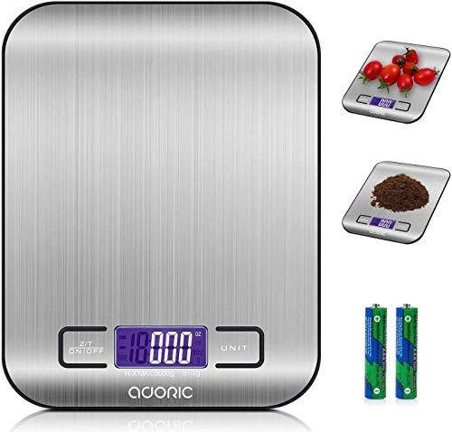 Adoric Life digitale Küchenwaage, multifunktional, für Lebensmittel, 5 kg (11 Pfund) silber / schwarz