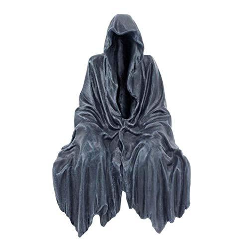 Misterioso Traje Negro Adornos misteriosos Resina Negra Artesanal Halloween Fantasma Estatua Decorativa Escultura al Aire Libre