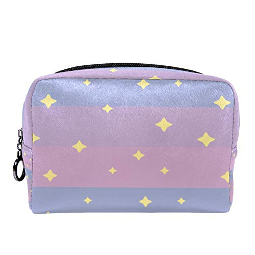 Cosmetic Bag Womens Makeup Bag for Travel to Carry Cosmetics Change Keys etc,Stars Pink Sunrise Sky