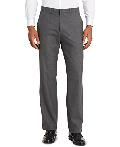 Calvin Klein Men's Slim Fit Solid Suit Separate Pants Infinite Stretch, Iron gate, 34W x 30L