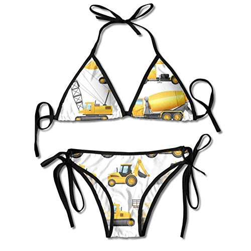 Baumaschinen LKW Kran Damen Bikini Set High Neck Halfter Zweiteiliger Badeanzug
