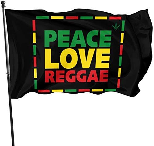 Viplili Flagge/Fahne, Peace Love Reggae Home Garden Yard Flags 3 X 5 Feet Pennants Indoor Outdoor Fall Flags Wall Banners Decoration