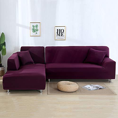SearchI Fundas Sofa Elasticas Chaise Longue,Cubre Sofás Modernas Protector para Sofás Acolchado Brazo Izquierdo Fundas de Sofa Ajustables en Forma de L 2 Piezas(Morado,1 Plazas+3 Plazas)