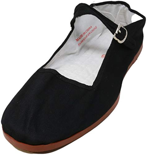 Easy USA Womens Cotton Mary Jane Ballet Flats Shoes 118 Black 8