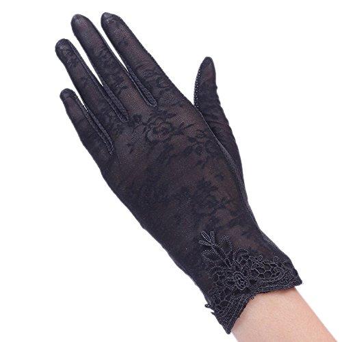 BXT Damen Sommer UV Sonnenschutz Handschuhe, Seide Touchscreen Handschuhe, Kurze Vollfinger Lace Fahren Handschuhe, Brautkleider Handschuhe, Anti-Rutsch, Atmungsative Handschuhe