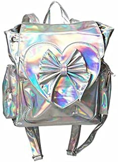 Lost Queen Nyla Iridescent Backpack Heart Bow Ladies Holographic Knapsack