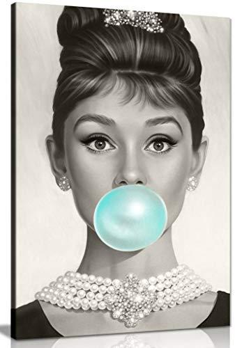 Kunstdruck auf Leinwand, Motiv Audrey Hepburn Blue Bubblegum, 76,2 x 50,8 cm