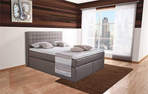 MeineMatratze24 Boxspringbett ALMA | Direkt vom Hersteller | 7-Zonen Taschenfederkern-Matratze H2 / H3 / H4 und Topper Aufbau | Hotelbett Doppelbett | (160 x 200 cm)