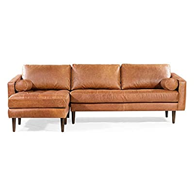 POLY & BARK Napa Left-Facing Sectional Sofa in Full-Grain Pure-Aniline Italian Tanned Leather in Cognac Tan - Full-aniline dyed Italian tanned leather upholstery. Non pigmented leather accentuating the natural beauty of the hide Corner blocked wooden frame. Solid wood legs in a mahogany finish High density foam with polyester filling. Feather down topper on seating surfaces. Feather down and fiber blend seat-back cushions and bolsters - sofas-couches, living-room-furniture, living-room - 41Teokua7hL. SS400  -