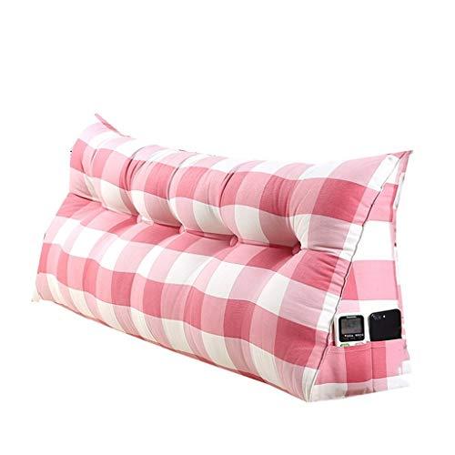 YDS Shop driehoekig kussen/hoofdkussen met dubbele kop, eenvoudige stijl bank met rugleuning, zacht pakket, groot bed, bescherming voor nek en rug, leeskussen