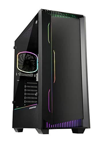 ENERMAX LIBLLUSION LL30 - PC Gaming ATX Gehäuse mit gehärtetem Glas Seitenwand und ARGB Frontbeleuchtung inkl. 12cm RGB Rearlüfter; ECA-LL30-M1BB-ARGB, schwarz