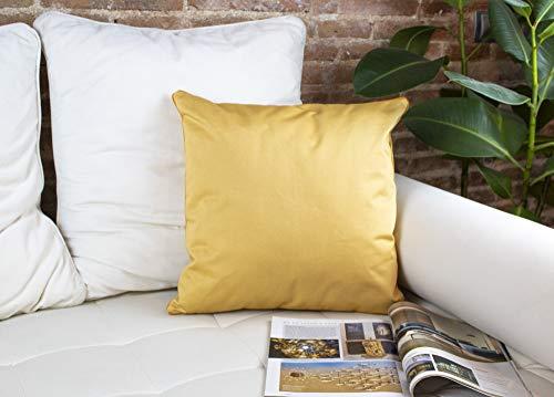 DiseLio 1 Funda de Cojín 100% Algodón Color Amarillo Mostaza 45 x 45 cm. Cojines Decorativos con Cordón Vivo al rededor Que destaca su Elegancia. (Made in Spain) (1cl.lis.v-a-m45)