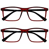 Opulize Ink Pack 2 Gafas De Lectura Grande Oscuro Rojo Hombres Mujeres Bisagras Resorte RR4-Z +1,50