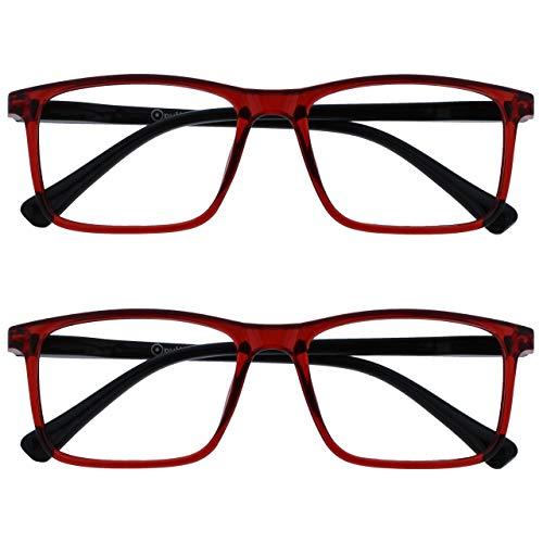 Opulize Ink Pack 2 Gafas De Lectura Grande Oscuro Rojo Hombres Mujeres Bisagras Resorte RR4-Z +2,00