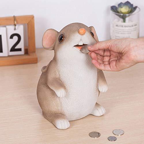 PPuujia Caja de almacenamiento de monedas de ratón de dibujos animados para niños, juguetes para el año de la rata, adorno para decoración del hogar, cajas de ahorro de dinero para niños (color: A)