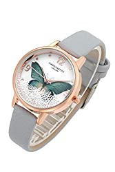 Grey Wrist Watch Green Butterfly with Floated Rhinestones