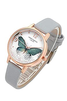 Top Plaza Womens Ladies Fashion Grey Leather Wrist Watch Elegant Simple Butterfly with Floated Rhinestones Analog Quartz Dress Watch -Green Butterfly