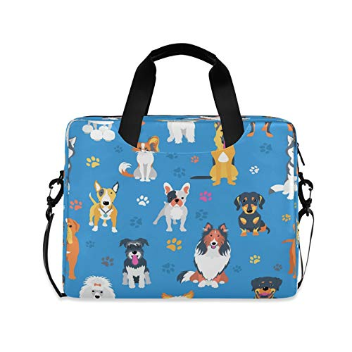 Laptop Case 15.6 inch with Handle Dog Laptop Bag Paw Printed Computer Cases Multi-functional Notebook Sleeve, Carrying Case with Strap