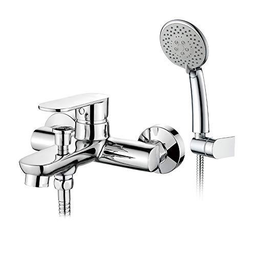 GRIFEMA BERLIN-G13004 | Badewannenarmatur - Wannenbatterie mit Brauseschlauch, Handbrause, und Brausehalter | Aufputz Einhebel - Wannenmischer - Duschsystem, 2 Verbraucher, Chrom