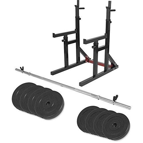 GORILLA SPORTS® Squat Rack - mit 30 kg Langhantel Set, bis 300 kg belastbar, Höhenverstellbar, mit Dip-Griffen - Langhantelablage, Langhantelständer, Hantelständer, Multifunktional Kniebeugenständer