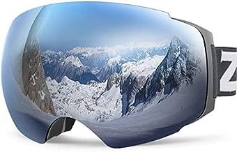 ZIONOR X4 Ski Goggles Magnetic Lens - Snowboard Goggles for Men Women Adult - Snow Goggles Anti-Fog UV Protection (VLT 8.59% Grey Frame Grey Revo Silver Lens)