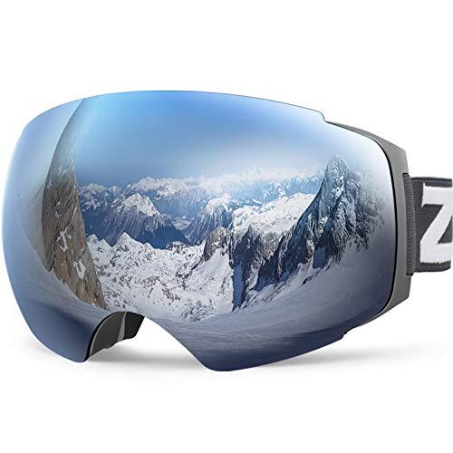 ZIONOR X4 Ski Snowboard Snow Goggles Magnet Dual Layers Lens Spherical Design Anti-fog UV Protection Anti-slip Strap for Men Women (VLT 8.59% Matte Grey Frame Grey Revo Silver Lens)