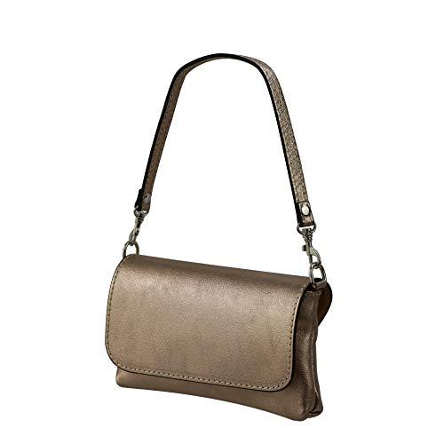 SH Leder Echtleder Umhängetasche Clutch kleine Tasche Abendtasche Metallic Leder 19x11cm Elena G349 (Bronze)