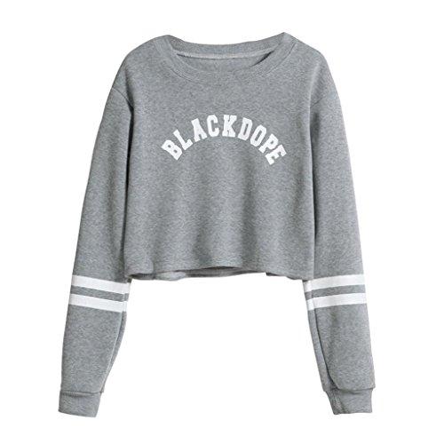 Damen Langarm, Frashing BLACKDOPE Frauen beiläufige Lange Hülsenbuchstabe gedruckte Strickjacke Mantel Sweatshirt Oberseiten Bluse (M, Grau)