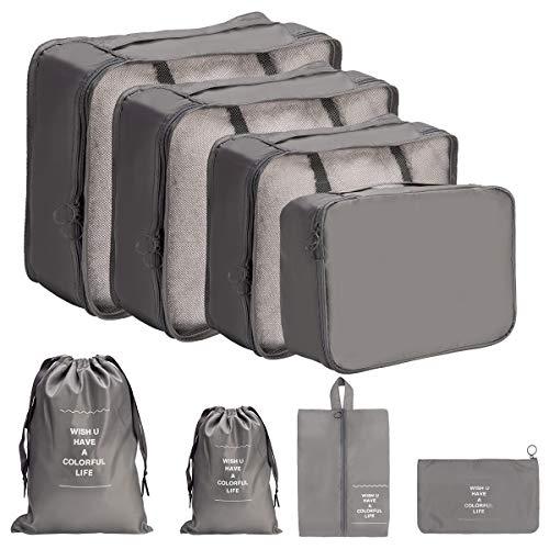 DoGeek Packing Cubes Koffer Organizer Kleidertaschen 8-teilig Packwürfel Verpackungswürfel Gepäck Aufbewahrung Taschen Ideal für Seesäcke, Handgepäck und Rucksäcke, Grau
