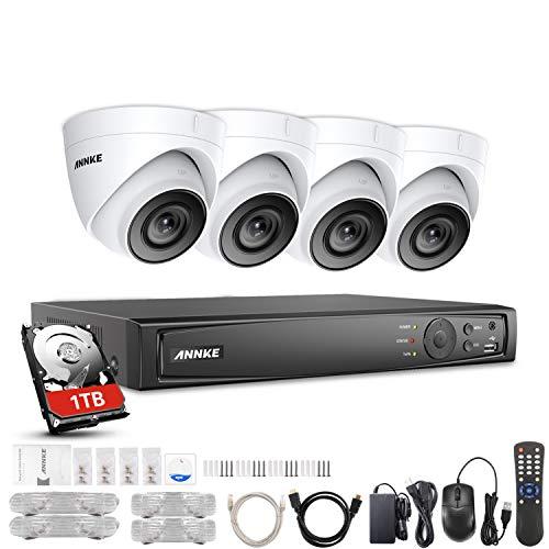 ANNKE Überwachungskamera Set 1080P Full HD 8 Kanal Poe NVR 4X 1080P Kameras 2.0MP Videoüberwachung Außen Innen Wasserdichte IP67 Outdoor Kamera Nachtsicht Bewegungsmelder mit Festplatte 1TB