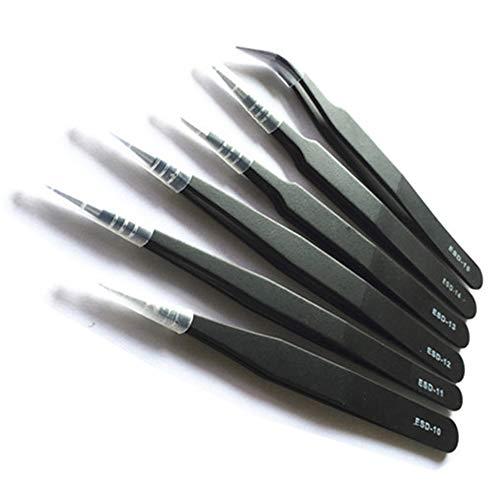 Baanuse 6pcs Pinzas, Precisión ESD Anti-Estáticas, Acero Inoxidable, para Electrónica, Joyería, Trabajo de Laboratorio