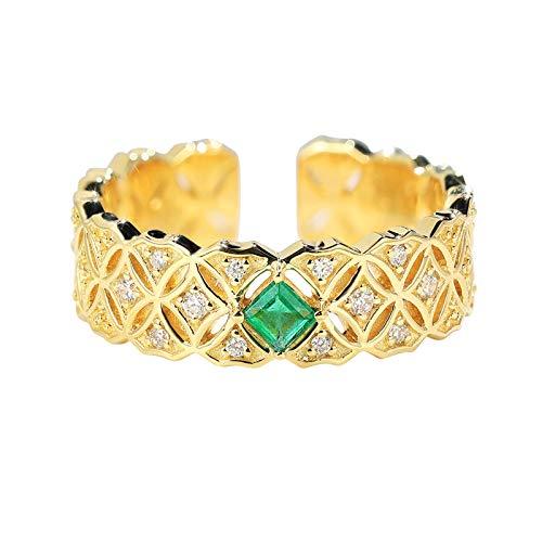 AmDxD Anillo 18K, Anillos Bodas 0.1ct Cuadrada Esmeralda con 0.08ct Diamante, Oro Amarillo, Tamaño 11 (Perímetro: 51mm)