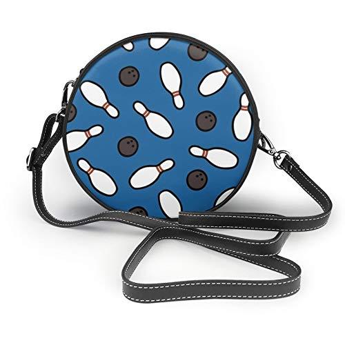 Bowling For Pins Muster Kleine Runde Crossbody Geldbörse Schultertasche Tote Bag Klassisch Stilvoll Kreis Geldbörsen Handtaschen