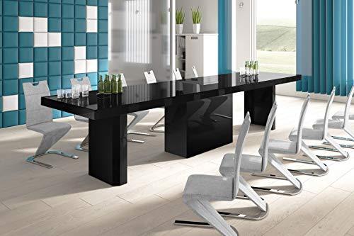 HU Design Konferenztisch HE-444 XXL ausziehbar in 8 Farben erhältlich 160 bis 412 cm (Schwarz Hochglanz)