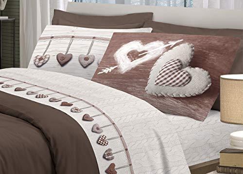 BIANCHERIAWEB Completo Lenzuola in 100% Cotone Disegno Cuore Appeso Matrimoniale Cioccolato