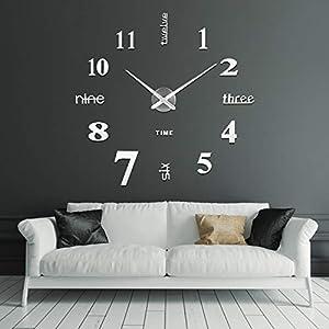 SOLEDI Reloj de Pared 3D, DIY Reloj de Etiqueta de Pared Decoración Ideal para la Casa Oficina Hotel