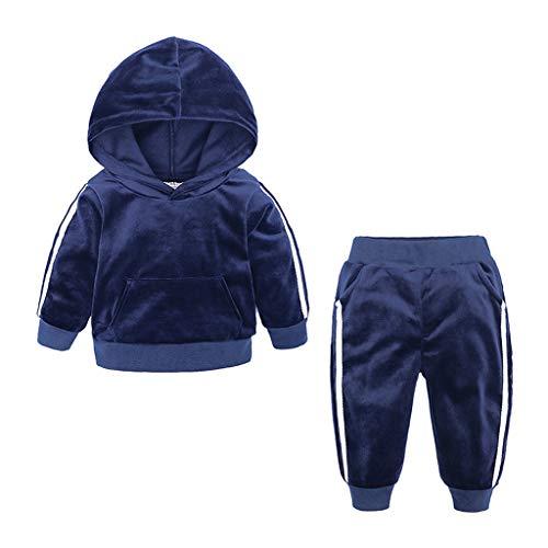 Zegeey MäDchen Kinder Junge Winter Warm Langarm Einfarbig Sweatshirt Mit Kapuzen Hosen Outfits Sport Bekleidungssets(Blau,130-140)