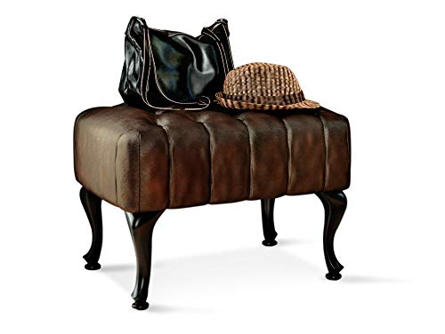 moebel-eins Chesterfield Echtleder Hocker zu Ohrensessel Sheffield, antikbraun