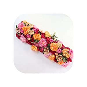 Heart-To-Heart Artificial Flower Row Table Runner Red Rose Orange Poppies Wedding Decor Backdrop Arch Green Leaves for Flower Arrangement,Orange Red,50Cm