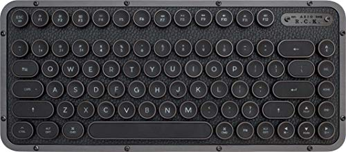 AZIO, Retro Compact Keyboard, R.C.K. GUNMETAL, mechanische mobile Bluetooth-Tastatur mit passender Handballenauflage, Vintage-Look, deutsches Layout